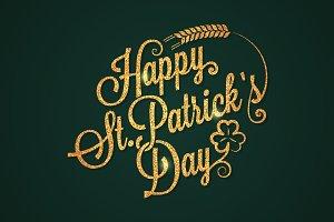 Patrick day vintage golden lettering