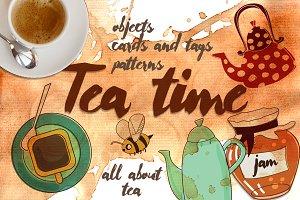 145 elements on tea theme
