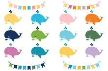Cute colorful whales clip art set