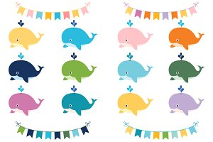 Cute colorful whales clip art set