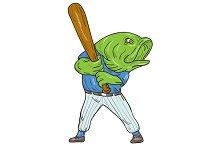 Largemouth Bass Baseball Player