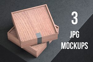 Mockup of Wooden Box- 3 Photo