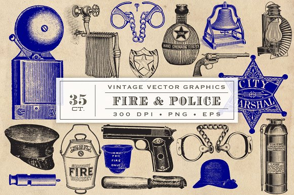 Fire Police Vector Graphics