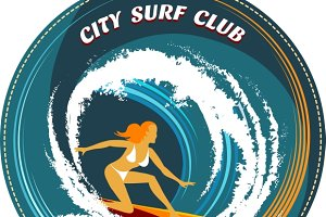 Surfing badge with girl surfing