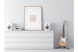Wooden Poster Frame PSD Mockup