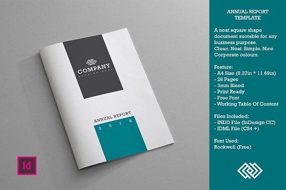 annual report template brochure templates creative market. Black Bedroom Furniture Sets. Home Design Ideas