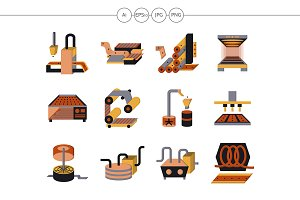 Food processing flat color icons
