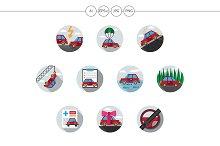 Car insurance flat round icons