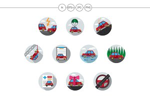 Car insurance flat round icons