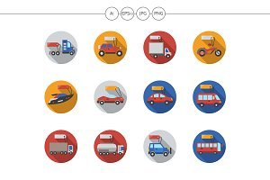 Car sale services flat round icons
