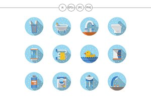 Bathroom and hygiene round icons