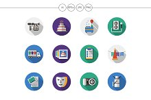 Party organization flat round icons