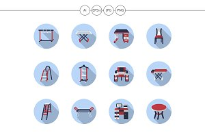Furniture for home flat round icons