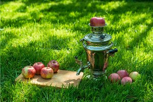 Rustic samovar steel teapot on the fresh spring summer lawn serve with the wooden board and apples. Picnic leisure vacation holidays