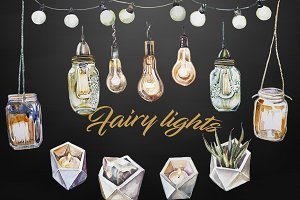 Watercolor Fairy Lights Clipart Set