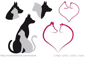Cat and dog, vector set