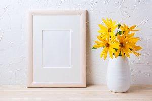 Wooden white frame mockup