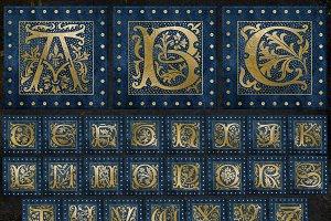 Blue Gilded Alphabet
