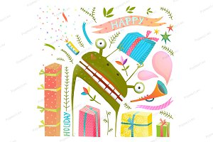 Holiday Frog with Presents Clip Art