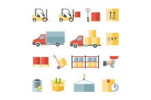 Warehouse and delivery icons