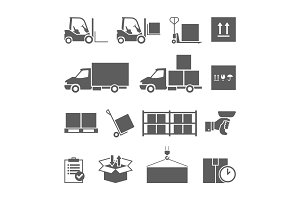 Delivery and storage icons set