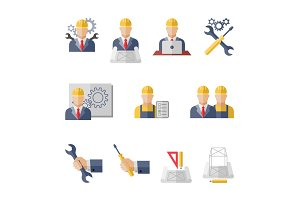 Engineer flat icons