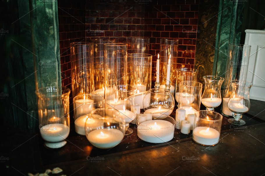 Decorative Candles In Glass Containers Photos Creative Market