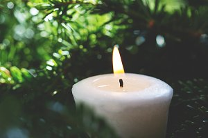 Candle with fir branches