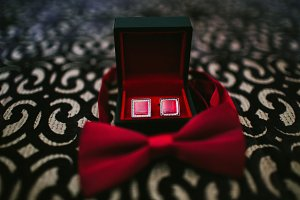 Cufflinks red and Red Butterfly