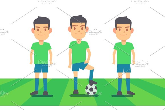 Three Soccer Players On Green Field Vector Illustration