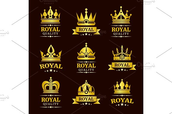 Golden Royal Quality Vector Crown Logo Templates Set