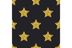 Vector gold glitter stars seamless pattern black background