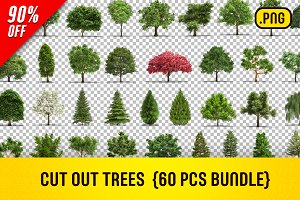 CUT OUT TREES - 60 PCS BUNDLE