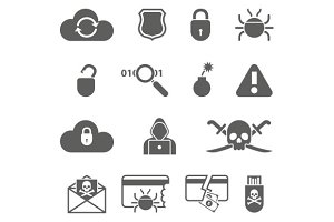 Hacker activity icons