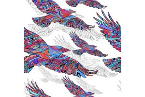 Seamless pattern of Hand-drawn crows with ethnic floral pattern. Abstract background