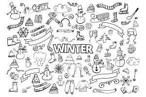 Winter doodles collection. Design elements. Snowman, Snowflakes, Skies, scarf, hot drinks, Coffee, Late