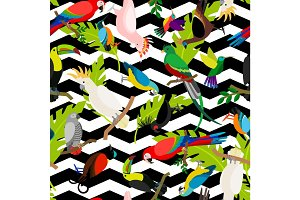 Fashion parrots seamless pattern