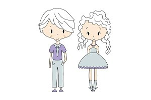 Illustration of kids icons, groups, vector. Boy and Girl Dolls