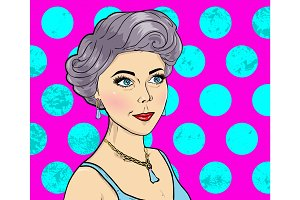 Women Comic Books style on pink Background. Magazine cover girl. Vector Supermodel. Pop Art illustration