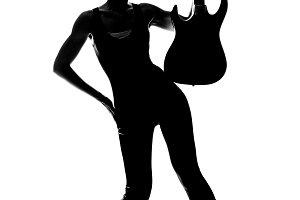 Silhouette fashion girl guitar