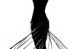 Fashionable silhouette dancing girl