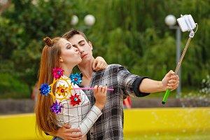 Enamoured teenagers do selfie
