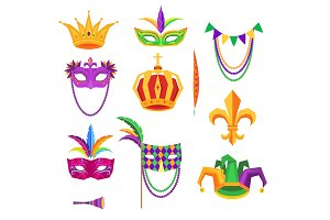 Mardi Gras Colorful Decorative Elements on White