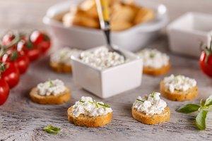 Cottage cheese on bruschetta