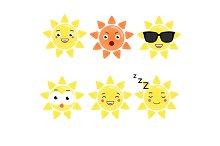 Cute sun emoji set. Sun icons