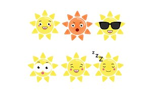 Cute sun emoji set. Sun icons