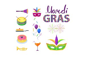 Mardi Gras Poster with Colorful Carnival Symbols