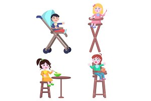 Set of Children Characters. Happy Mother Day Set.