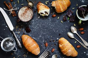Croissants, coffee and chocolate