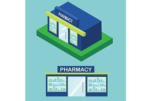 Pharmacy icon. flat and isometric